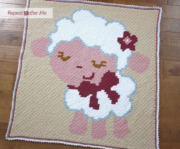 crochet sheep blanket