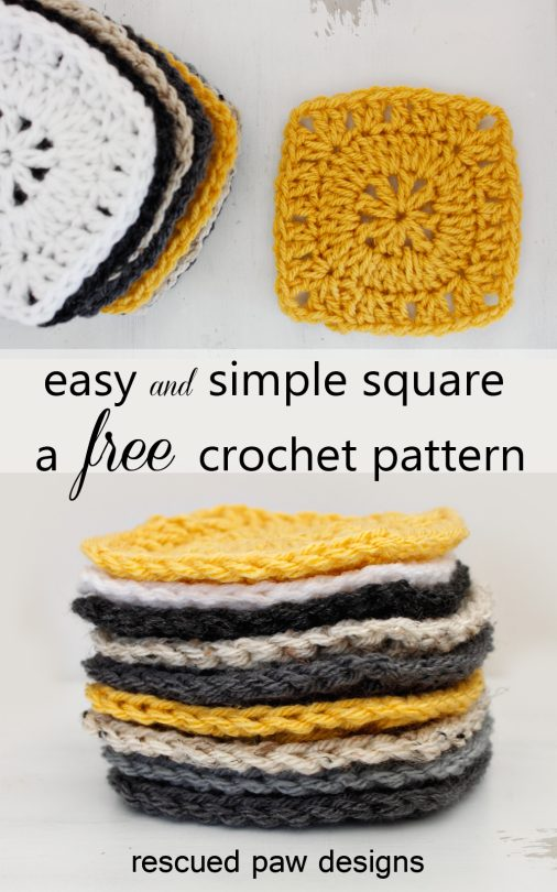 crochet square free pattern (three rounds)