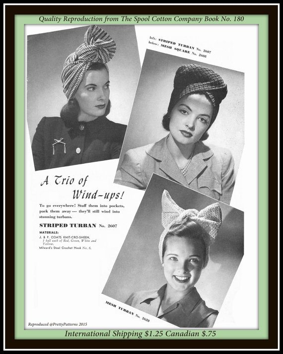 crochet turban patterns 1942