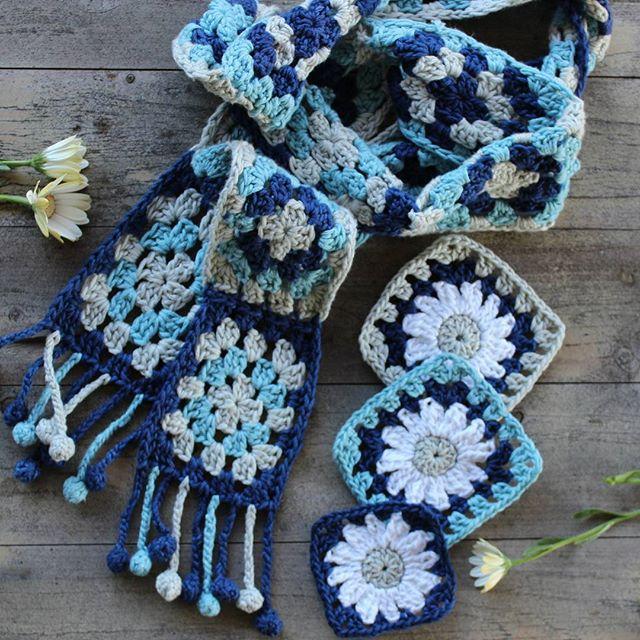 crochetgirl99 crochet squares scarf