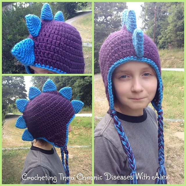 crochetingthruchronicdiseases crochet dinosaur hat with ties