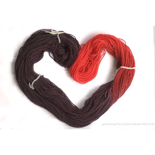 crochetingthruchronicdiseases heart-shaped yarn dye