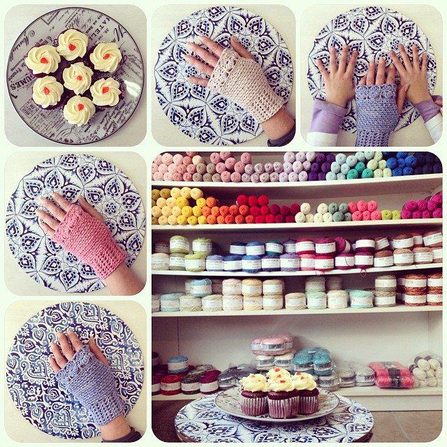 crochetinpaternoster crochet fingerless gloves and yarn