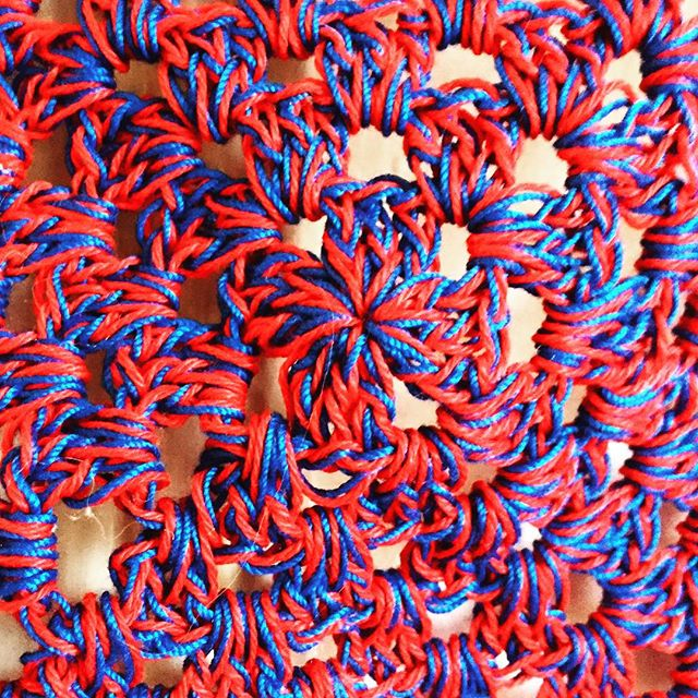 double strand thread crochet granny square red blue