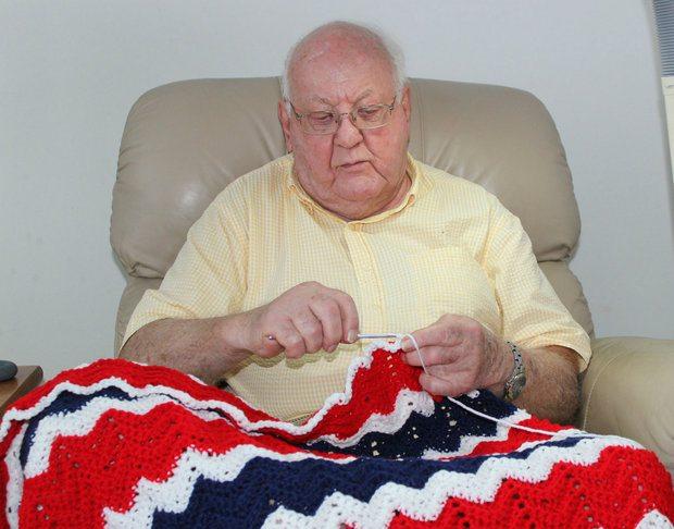 elderly male veteran crocheter