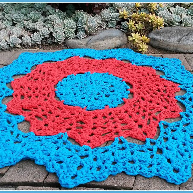 elzavan912 crochet t-shirt yarn doily rug