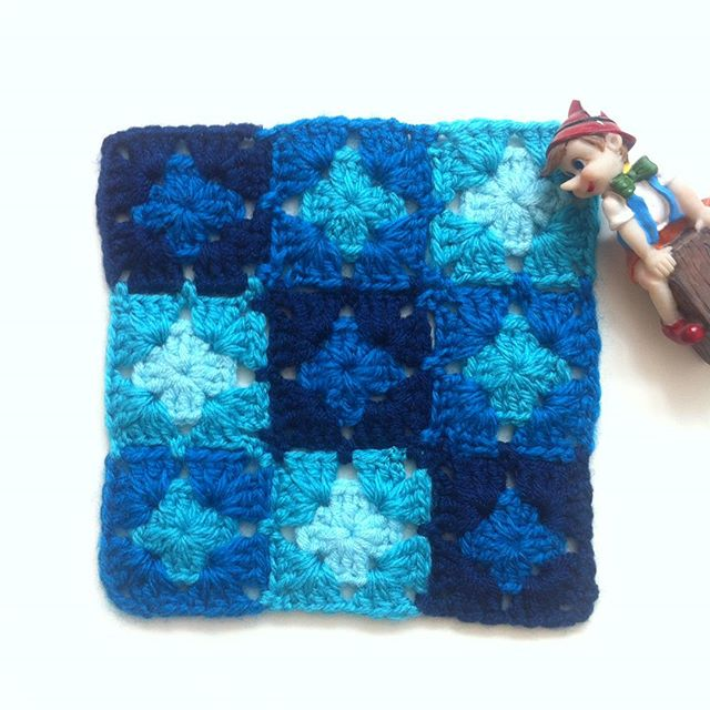 flzvarol nine square crochet granny blue