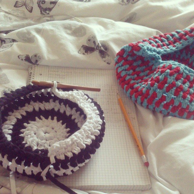 forestflowerdesigns crochet basket tshirt yarn