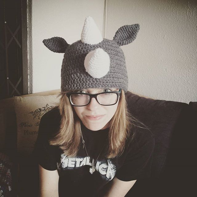 hookybren crochet rhino hat made by daughter