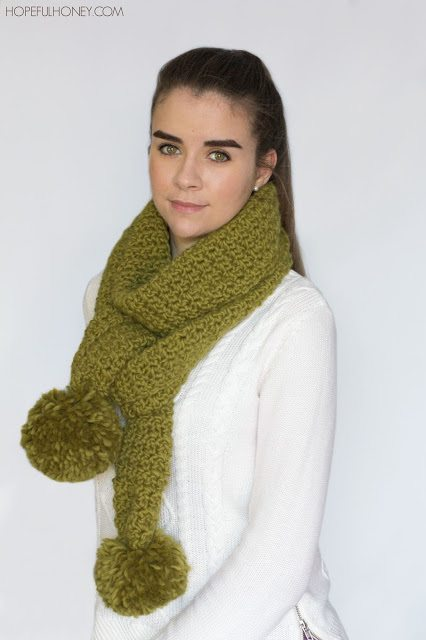 hopeful honey crochet pom scarf pattern