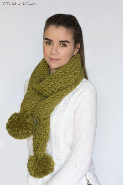 hopeful honey crochet pom scarf pattern