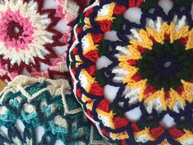 crochet mandala pillows