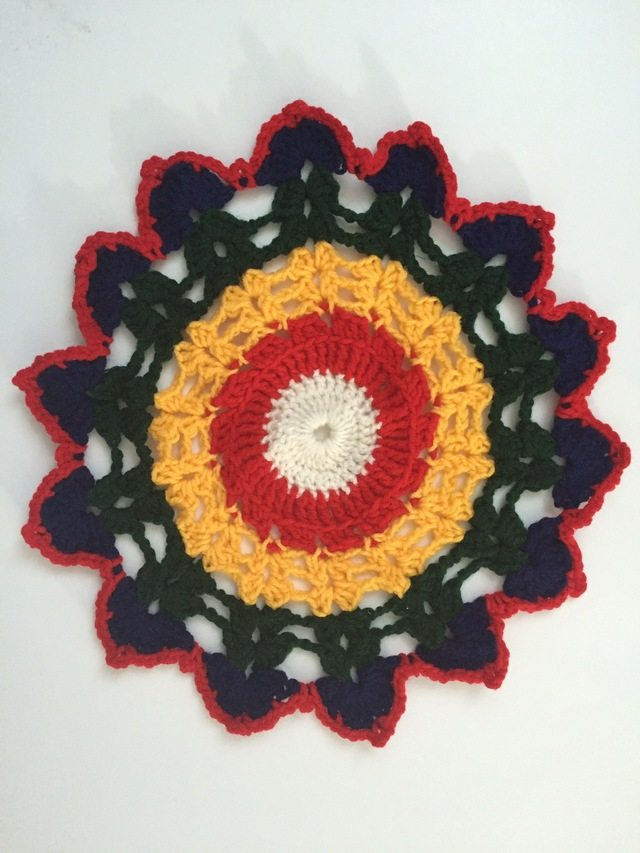 crochet mandala with color symbolism