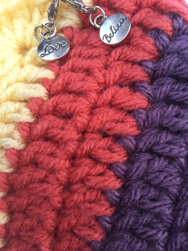 charms on crochet mandala
