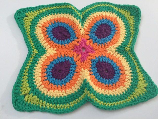 butterfly peacock crochet mandala