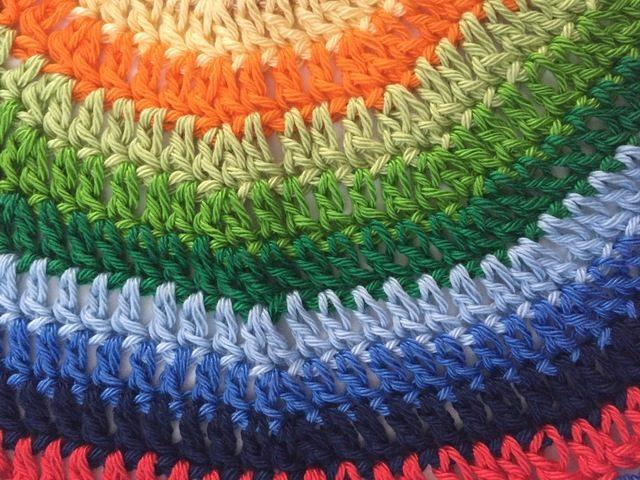 crochet rainbow detail mandala