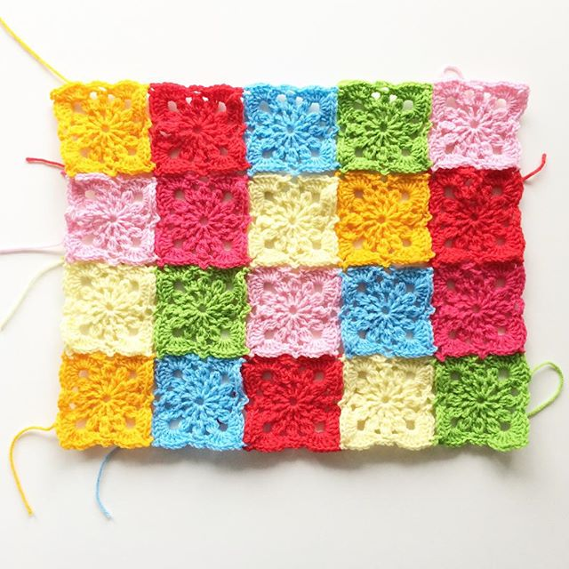 knitpurlhook crochet squares for yarnbombing project