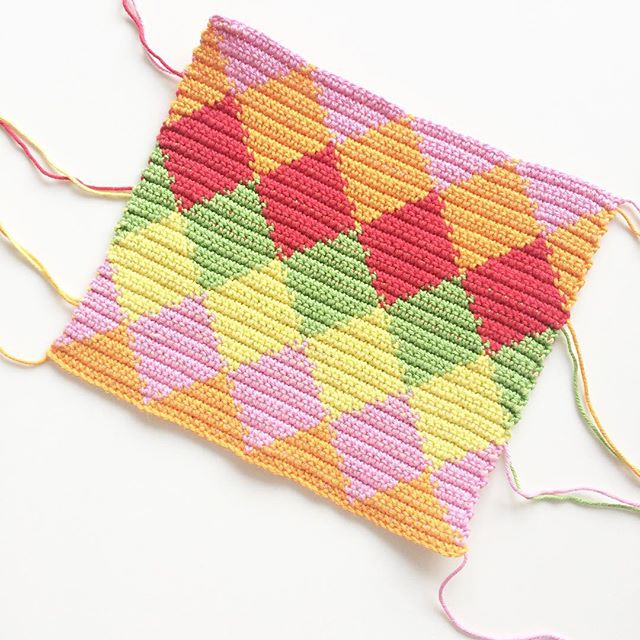 knitpurlhook tapestry crochet colorful diamonds