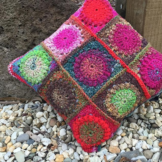 littleshopofknots crochet granny cushion