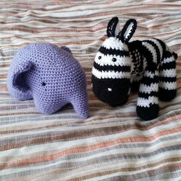 louizamakes crochet zebra and elephant