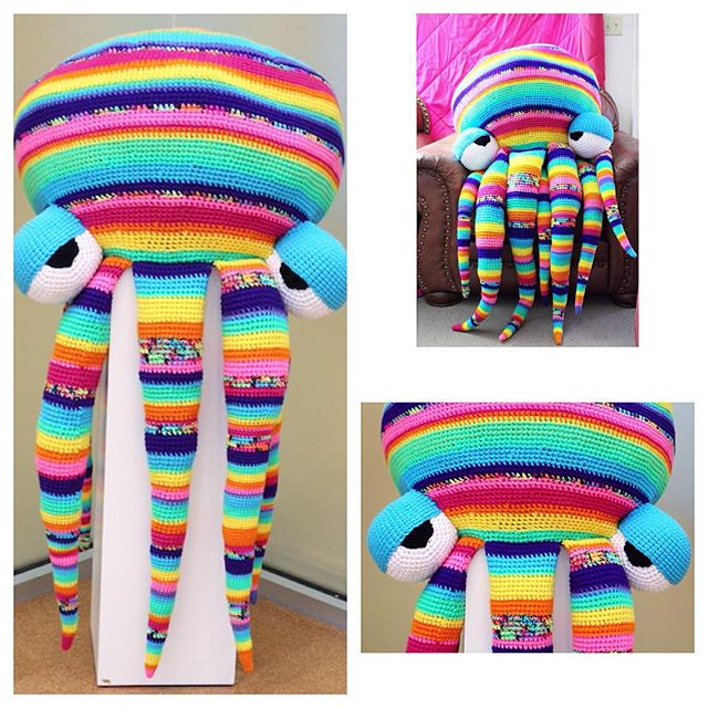 oliviartcreations crochet octopus rainbow stripe huge