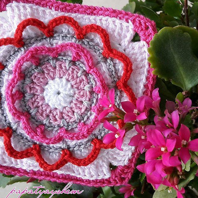 papatyayshem crochet flower square circlesofthesun