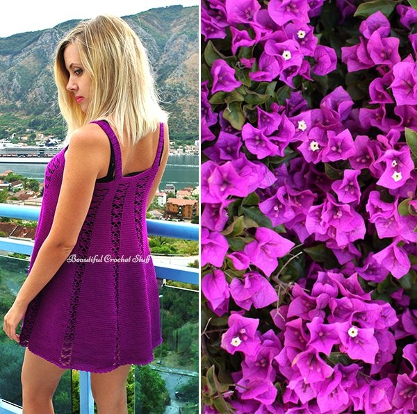 purple dress free crochet pattern