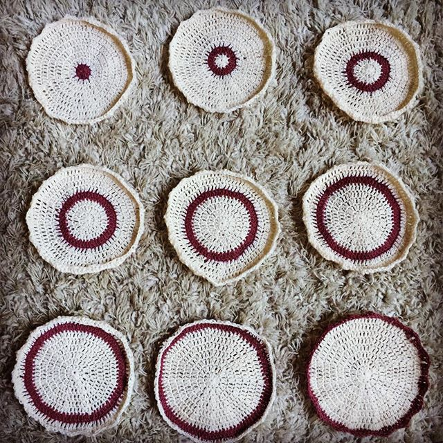 set of nine matching crochet mandalas