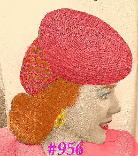 snood beret vintage crochet pattern 1942