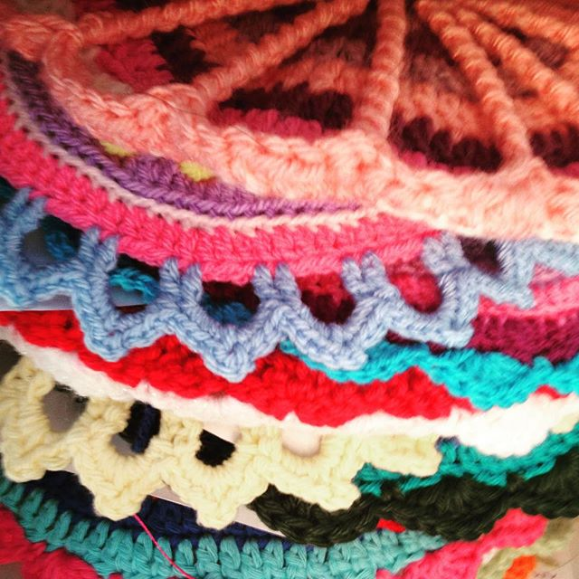 stack of colorful crochet mandalas