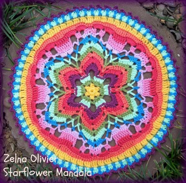 mandala crochet starflower de motif libre