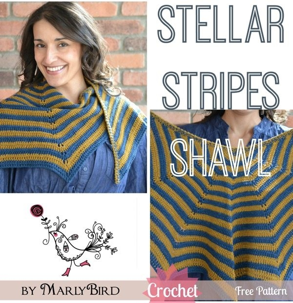 stellar stripes crochet shawl pattern