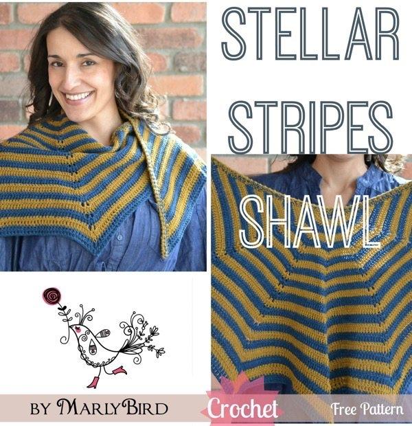 stellar stripes crochet shawl pattern