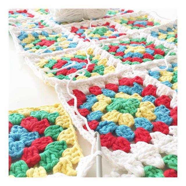 teaandcrafting crochet bright granny squares