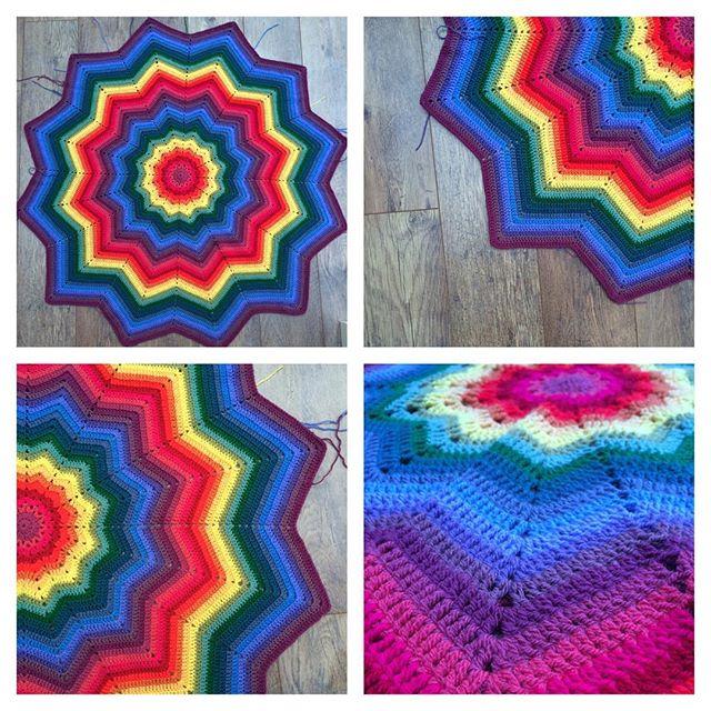 thepolkadotgiraffe rainbow crochet ripple star