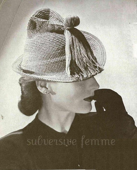 vintage 1942 crochet tassle hat