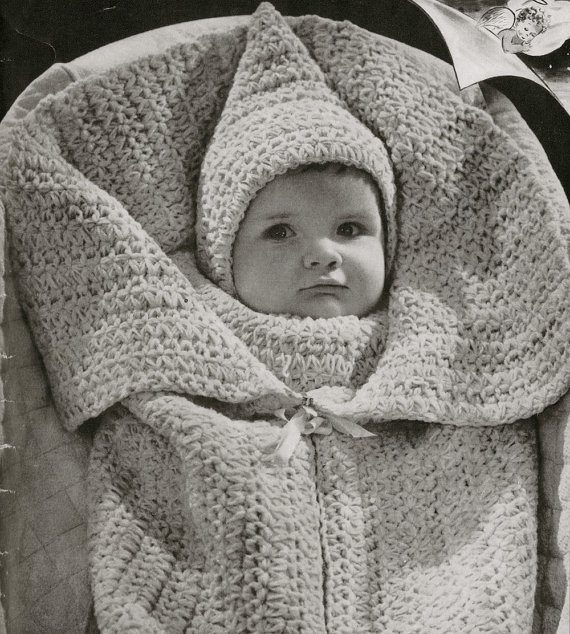 Crochet Patterns For Baby Washcloths : vintage crochet baby wrap pattern 1942