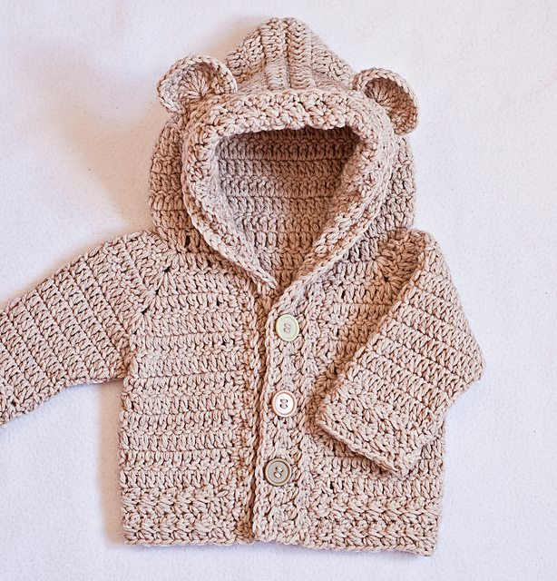 bear hooded cardigan crochet pattern