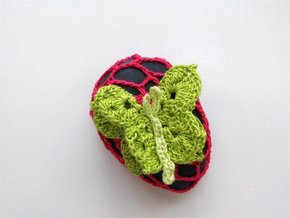 butterfly crochet rock