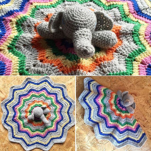cozamundo crochet elephant lovey blanket