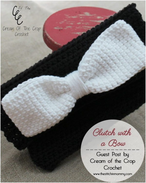 Crochet bow clutch free purse pattern from Cream of the Crop Crochet ...