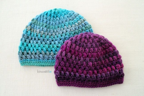 crochet puff stitch hats