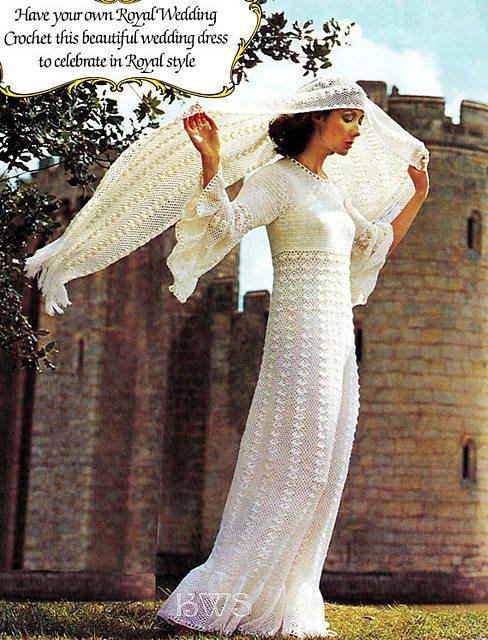 crochet wedding dress and stole