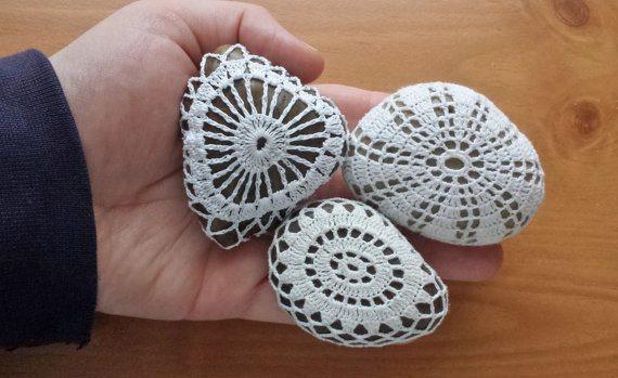 doily stones crochet art