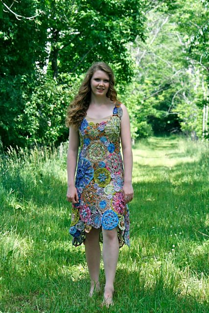 floral freeform crochet dress