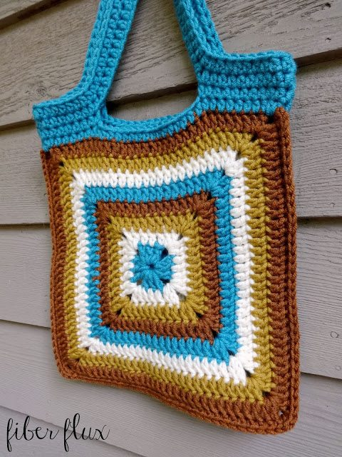 Crochet squares tote bag free pattern from Fiber Flux - a tote bag ...