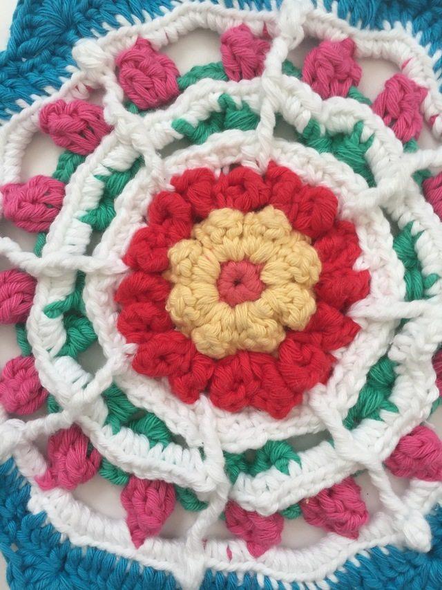 Detail of crochet mandala by Karen