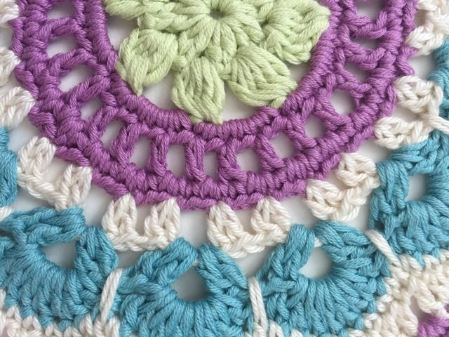detail of jenny's crochet mandalas for marinke