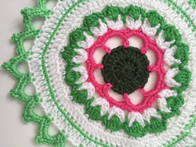 Allison's Crochet Mandala (green and pink)