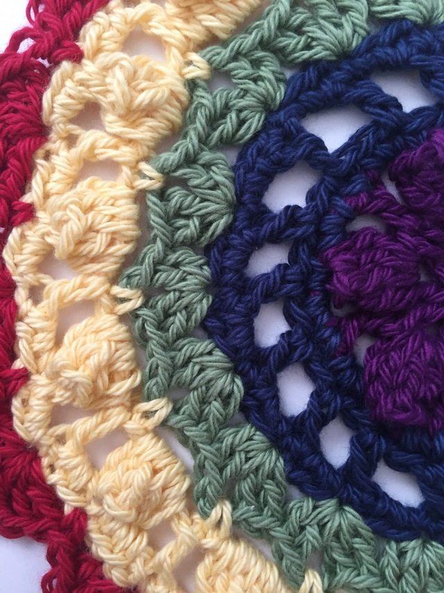detail of red crochet mandala for marinke